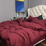 Bộ vỏ chăn drap gối cotton đũi 1 Màu Đỏ Đô thumbnail