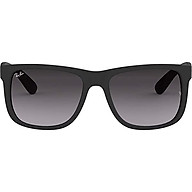 Ray-Ban RB4165F Justin Rectangular Asian Fit Sunglasses, Black Rubber Grey Gradient, 55 mm thumbnail