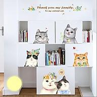 Decal dán tường trang trí phòng ngủ, lớp mầm non- Gia đình mèo- Mã sp DQR9072 thumbnail