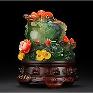 Thiềm Thừ Ngậm Tiền Chiêu Tài Hút Lộc - Cóc hồ lô xanh 18cm thumbnail