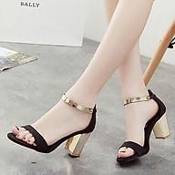 Giày cao gót 7 phân quai bản đen gót đồng LT (SD028) thumbnail