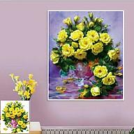 Tranh đính đá Bình Hoa Hồng Vàng (50x60cm) chưa đính đá thumbnail