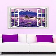 Decal dán tường phong cảnh cửa sổ hoa oải hương tím thumbnail