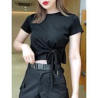Áo phông croptop dáng ôm, điểm nhấn buộc nơ eo cá tính, trendy phá cách thumbnail