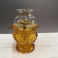 Đèn thờ đốt dầu - cao 17cm - thuỷ tinh cao cấp mẫu hoa sen nổi thumbnail