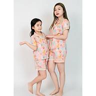 Đồ bộ pijama mẹ và bé áo cộc quần đùi màu hồng hình khu vườn thumbnail