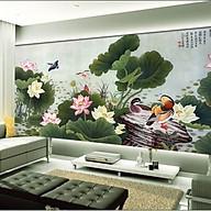 Tranh dán tường 3d đầm sen - ép kim sa - có sẵn kep PC67 thumbnail