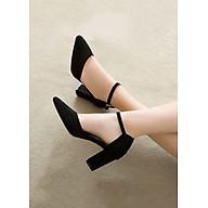 Giày Sandal Cao Gót Nữ Da Nỉ Cao Cấp Cài Quai Viền Đen Đế Vuông Cao 7p- CTG8504 thumbnail