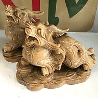 Tỳ hưu đá tự nhiên màu vàng cho người mệnh Kim và Thổ ngọc tự nhiên vàng nâu của VN nặng 8.5kg bao gồm cả chân đế thumbnail