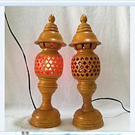 Cặp đèn thờ bằng gỗ hương phun vàng cao 36cm phong thủy siêu đẹp - hàng loại 1 thumbnail