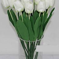Hoa giả-Cành Hoa Tulip Đơn màu trắng thumbnail
