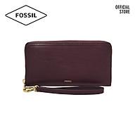 Ví cầm tay nữ khoá kéo thời trang Fossil RFID Logan Zip SL7928503 - màu mận thumbnail