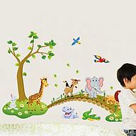 Decal dán tường trang trí phòng cho bé, quán cafe- Thú qua cầu- N1041 thumbnail