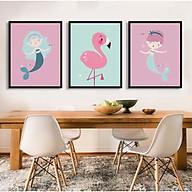 Bộ 3 tranh treo tường canvas trang trí phòng cho bé yêu hình Nàng Tiên Cá thumbnail