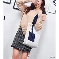 Túi Tote Thời Trang Nữ Vải Bố Canvas Cao Cấp Có Khóa Kéo thời trang King168 mã T01 thumbnail