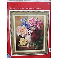 Tranh thêu chữ thập thêu kín Bình Hoa Mẫu Đơn (47 55cm) chưa thêu thumbnail