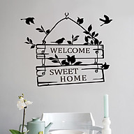 Decal dán tường, cửa kính chữ WELCOME SWEET HOME tươi vui và tràn đầy sức sống thumbnail