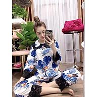 Đồ Ngủ Nữ, Đồ Bộ Pijama, Pijama Lụa nữ mặc nhà, Bộ Đồ Ngủ Tay Dài Quần Dài Phối Ren Tiểu Thư Lụa Hàn Cao Cấp thumbnail