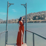Đầm Maxi Vàng Đỏ Vintage Dáng Dài Cổ V Xẻ Tà thumbnail