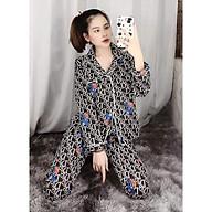 Bộ ngủ pijama lụa kate thái áo dài quần dài bộ mặc nhà Hanz.vn mềm mại dễ thương H1 Đen D.Or thumbnail