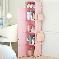 Tủ nhựa đựng túi xách lắp ghép 5 ô(1 ô nhỏ) màu hồng kém móc treo thumbnail