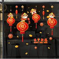 Decal trang trí Tết Tân Sửu- Trâu vàng ôm đèn lồng chào xuân thumbnail