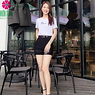 Quần short nữ Hiền Trần BOUTIQUE cạp cao, khuyên đá chất vải Umi Hàn cao cấp co giãn tốt tôn dáng thumbnail