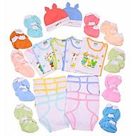 Món đồ dùng sơ sinh cotton cho bé từ 0 đến 3 tháng tuổi( 37 Món 5 áo cotton + 10 tã dán + 2 nón +20 bao tay chân may vắt sổ không vải không chỉ thừa an toàn cho bé) thumbnail