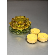 Đế để nến thuỷ tinh hoa mẫu hoa sen vàng có đế ( tặng kèm 3 chiếc nến bơ 4h )DA12087 thumbnail