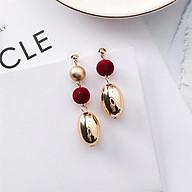 Bông tai nữ - Bi nhung đỏ hạt kim loại - màu gold thumbnail