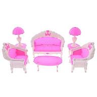 Bộ nội thât sofa màu hồng cho búp bê thumbnail