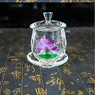Chến thờ, ly nước cúng Phật hình bông sen pha lê cao cấp thumbnail