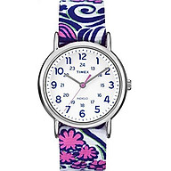 Timex Women s TW2P90200 Weekender Reversible Blue Swirl Nylon Slip-Thru Strap Watch thumbnail