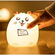 Đèn ngủ cho bé để bàn cảm ứng chạm đổi màu phát sáng hình chú gấu ngộ nghĩnh (Tặng bộ 6 con bướm dạ quang phát sáng) thumbnail