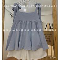 Set style Hàn Quốc S.047, Set áo babydoll hai dây thắt nơ kẻ xanh và quần short trắng cực xinh thumbnail