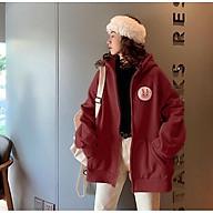 Áo Khoác Hoodie nữ, áo khoác nữ form rộng, áo khoác nữ có dây kéo - Áo Khoác Nỉ Thu Đông In Logo Thỏ Ngực LV16 thumbnail