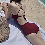 BIKINI 1 mảnh màu đỏ mận dây đan buộc lưng SIÊU SEXY TÔN DÁNG thumbnail