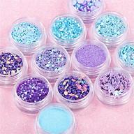 Combo 12 hộp nhũ kim tuyến trang trí móng nghệ thuật làm nail, trang điểm mắt Gliter kiểu Hàn Quốc thumbnail