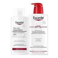 Bộ Dầu Gội Cho Da Nhạy Cảm Eucerin pH 5 Shampoo (250ml) Và Sữa Tắm Dành Cho Da Nhạy Cảm Eucerin pH 5 Washlotion Có Mùi (400ml) thumbnail