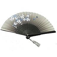 Quạt cổ trang dây tuyến nền xám hoa ly xanh loại 2 quạt xếp cầm tay quạt trúc cầm tay quạt phong cách cổ trang Trung Quốc in hoa trang trí tặng ảnh thiết kế vcone thumbnail