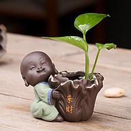 Tượng chú tiểu ôm cải thảo Vạn Sự May Mắn - trồng cây, cắm hoa & trang trí thumbnail