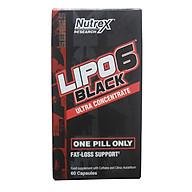 Thực phẩm bổ sung LIPO 6 BLACK của Nutrex hộp 60 viên hỗ trợ đốt mỡ, giảm cân mạnh mẽ, tăng tỉnh táo tập trung cho người tập GYM và chơi thể thao thumbnail