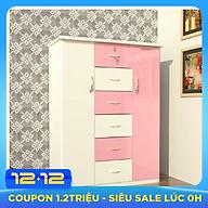 Tủ nhựa Đài Loan 2 cánh 6 ngăn T310 màu hồng thumbnail