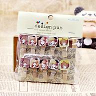 SET 10 Cái Kẹp Gỗ Sơn Design Pub hình Chibi (Tặng 1,5m dây cói) thumbnail