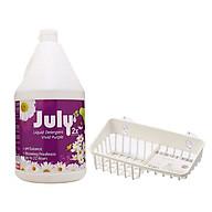 Combo nước giặt xả July 2X can 3500ml hương nước hoa + Giá để xà bông, giẻ rửa bát 2 ngăn nội địa Nhật Bản thumbnail