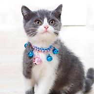 Vòng cổ chuông cho mèo đan dù 5 chuông đáng yêu thumbnail