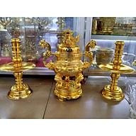 Bộ lư đồng tam sự mạ vàng tròn cao 56, ngang 40 , Mã SP MVT - Đồ Thờ Thắng Duyên Đại Phát. thumbnail