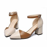 Giày cao gót nữ da mềm đế vuông 5p vạt chéo phối màu siêu xinh-GC55 thumbnail