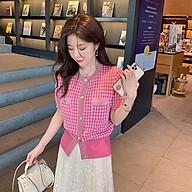 Áo cadigan mỏng cộc tay nữ - Áo len dệt kim mỏng màu hồng siêu xinh thumbnail