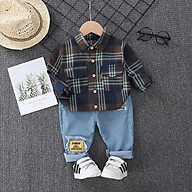 BS9Size80-120Đồ Bộ cho bé trai. Quần jean + áo sơ mi sọc đen nâuThời trang trẻ Em hàng quảng châu thumbnail